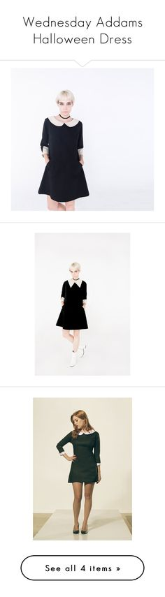 """""""Wednesday Addams Halloween Dress"""" by frenchieyork ❤ liked on Polyvore featuring dresses, pink day dress, cotton dresses, lining dress, lined dress and round neck dress"""