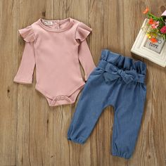 Autumn New Baby Girl Sets Clothes Outfit Solid Long Short Romper Bodysuit Denim Pants Jeans kit Top Dropshipping roupa infantil Autumn New Baby Girl Sets Clothes Outfit Solid Long Short Romper Bodys Trendy Baby Clothes, Baby & Toddler Clothing, Toddler Outfits, Kids Outfits, Kids Clothing, Summer Clothes, Toddler Girl, Summer Outfits, Babies Clothes