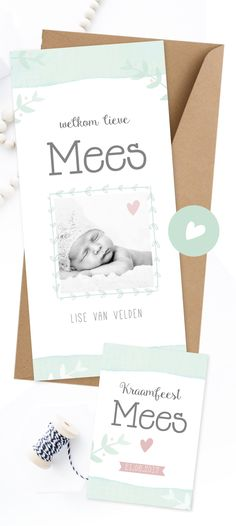 Geboortekaartje watercolor meisje met kraamkaartje | met foto | newborn shoot | baby girl | baby announcement | cute | hartje | photo | welkom lieve Mees