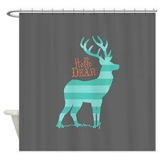 Hello Dear Turquoise, Gray, Coral Shower Curtain for