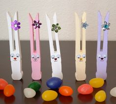 These bunnies crafted using old fashioned clothespins are perfect for Easter decorations or gifts. This simple craft project makes the cutest Easter bunnies in under an hour with less than $10.00 of materials.   Supplies needed: Old fashioned clothespins. I used Woodsies brand No-Roll Clothespins. Acrylic paint in different shades (white, light purple, light