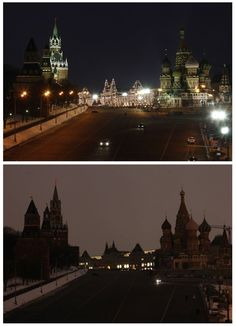 A combination photo shows a view of St. Basil's Cathedral, Red Square and the Kremlin before and during Earth Hour in Moscow