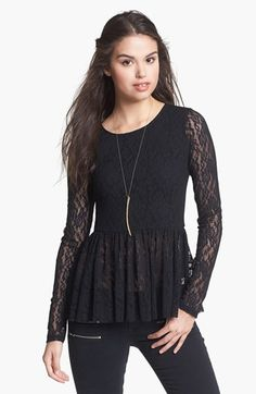 Frenchi® Lace Peplum Top (Juniors) available at #Nordstrom wear this with a narrow pencil skirt in a pattern
