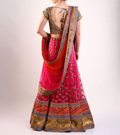 #Fuchsia #Embroidered #Cotton And #Net #Lehenga #Set by #Rimple and #Harpreet #Narula at #Indianroots