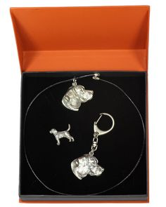 Dogo Argentino, Dog Keyring and Necklace in Casket, Prestige Set, Limited Edition, ArtDog Dogo Argentino Dog, Jewelry Sets, Fine Jewelry, Cane Corso Dog, Diamond Earrings, Drop Earrings, Beagle Dog, Casket, Dogs