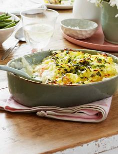 Fish pie with parsley rosti topping - Sainsbury& Magazine Fish Dishes, Seafood Dishes, Fish And Seafood, Fish Recipes, Seafood Recipes, High Carb Fruits, Bean Pie, Fish Pie, Almond Flour Recipes