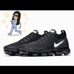Swarovski Nike Womens Air VaporMax Flyknit 2 in Black Customized With  Swarovski Crystals Bling Nike Shoes ca91e692be