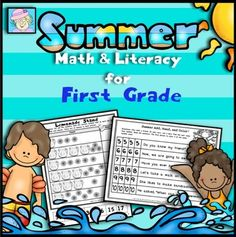 First Grade Math and Literacy for Summer (No Prep!) from TeacherTam on TeachersNotebook.com -  - Your students will enjoy reviewing the first grade CCSS with this fun, summer-themed resource. It has 40 pages of Common Core based math and literacy activities.$