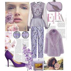 """Lovely Lavender"" by ropastyle on Polyvore featuring polyvore, fashion, style, Zac Posen, Blumarine, Mary Katrantzou, Paul Andrew, Bottega Veneta, Yankee Candle and Laura Cole"