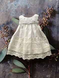 A lovely regency style dress made from antique cotton and vintage lace. Due to the vintage nature of the materials used in these dresses they Doll Clothes Patterns, Clothing Patterns, Dress Patterns, Little Girl Dresses, Flower Girl Dresses, Fairy Clothes, Special Dresses, Girly Outfits, Fabric Dolls
