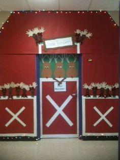 reindeer stable decoration | Christmas door/ reindeer stable