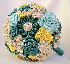 Fabric Wedding Bouquet Brooch bouquet Emerald Emerald by LIKKO