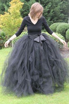 Black+adult+tutu+long+black+skirt+sewn+tutus+Wide+by+MirelaOlariu