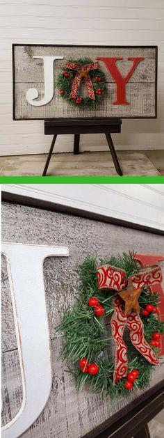 Rustic Joy sign, Country Christmas decor, Christmas mantle decor, Farmhouse Christmas sign #afflink #christmas