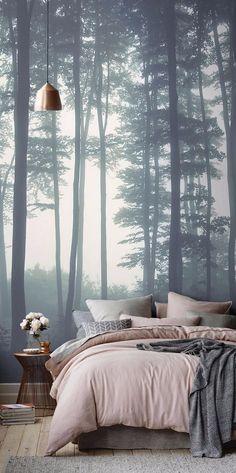 Deep forest wallpaper for modern master bedrooms   www.masterbedroomideas.eu    #luxuryfurniture #exclusivedesign #interiodesign #designideas #masterbedroom #masterbedroomideas #wallpaper #wallpaperdesign