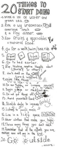 20 things to start doing. For the mind, body and soul.