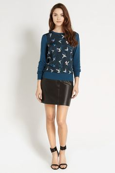 We plan to wear this beautiful Peter Ting Bird woven front top with leather or tucked into jeans - perfect!