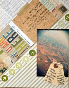 A scrapbook page at an angle = a fun idea from Teri! I like how she stamped the phrases from the Leaving on a Jet Plane by Ali Edwards stamp set (from TechniqueTuesday.com) on the cork paper panel, too!