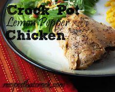 Crock Pot Lemon Pepper Chicken #crockpot #slowcooker #lemonpepper #chicken #easyrecipe
