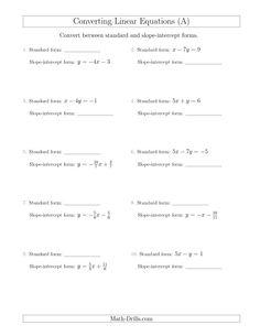 New 2015-04-22! Converting Between Standard and Slope-Intercept Forms (A) Math Worksheet #freemath PLUS a few other more specific options on the algebra page.