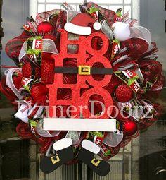 HO HO HO Santa deco mesh Wreath by DzinerDoorz on Etsy, $90.00
