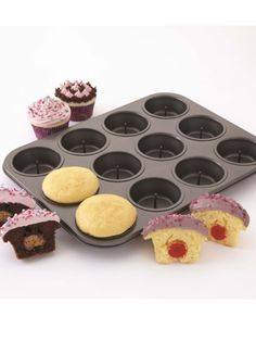 cupcak pan with a pinned center to stablize suprise treats inside the cupcakes! Cute