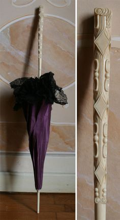 1882 handle - Parasol, total length. 77 cm, ivory handle and tip. shell taffeta quilted purple and black lace mechanic. ____ (translated from Italian by Google)