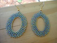 Olive Beadwork earringsoval seed bead earringscircular by thiosart, $14.50