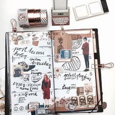 autumn layout <3 love the stamps in the corner of the inserts. I'm on my way ~ shopping tour inc ☺️ what are you going to do today? . . #midori #filofax #filofaxdeutschland #envelopments #vintage #washi #washitape #stationery #fauxdori #pedori #journaling #classiky #ladolcevita #plannersociety #penpals #snailmail #happymail #lettering #bujo #calligraphy #diy #diary
