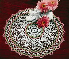 Green and Pink Doily crochet pattern from Doilies, originally published by American Thread Co, Star Book No. 124, in 1955.