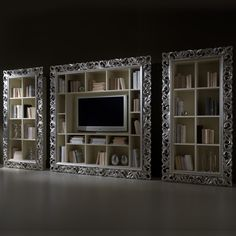 Large Silver Leaf Rococo TV Unit