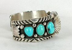 Vintage Sterling Silver and Turquoise watch cuff