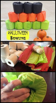 Halloween Game Ideas use tissue paper to cover toilet paper - maybe add some monster eyes, mouths, etc? Use a round ball turned into an eyeball to knock over tp Halloween Carnival Games, Halloween Class Party, Christmas Carnival, Kids Halloween Games, Carnival Ideas, Church Carnival Games, Kindergarten Halloween Party, Halloween Party Activities, Halloween Games For Kids
