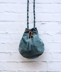 Teal Suede Leather Pouch Handmade Leather Bag by ARTonomousgr