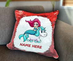 Unicorn mermaid Personalized Sequin Cushion cover with your name unicorn sequin pillow personalised sequin cushion cover magic sequin cover by funkytshirtsfactory on Etsy Sequin Pillow, Unicorn Cushion, Cushion Covers, Soft Fabrics, Mermaid, Cushions, Sequins, Sofa