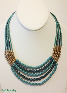 Beautiful!! Etsy listing at https://www.etsy.com/listing/200887294/teal-and-blue-gold-statement-necklace