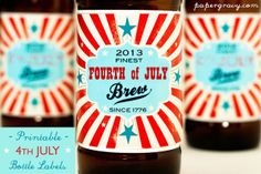 Printable 4th JULY 2013 Beer Bottle Labels by papergravystore