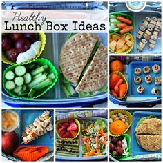 6 Healthy Lunch Box ideas - I like the silicone baking cups as dividers!