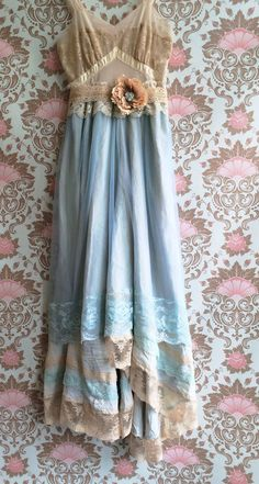 Custom dress for Kat pale aqua chiffon & tan lace fishtail offbeat bride wedding dress by mermaid miss k