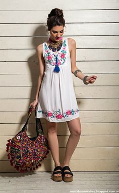 Moda 2019 Tendencias Primavera Vestidos Ideas For 2019 Boho Outfits, Vintage Outfits, Casual Outfits, Fashion Outfits, Women's Casual, Cute Dresses, Casual Dresses, Style Feminin, Mexican Fashion