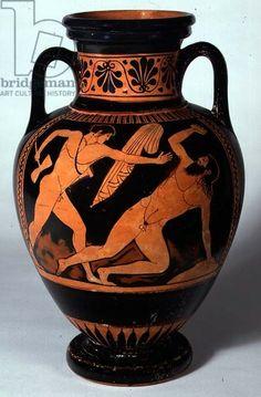 Red-figure neck-amphora depicting Theseus About to Kill Procrustes, 480-470 BC (clay). Pig Painter (fl.480-470 BC) / Fitzwilliam Museum, University of Cambridge, UK