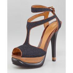 944116b8 Fendi Felt-Leather Halter Strap Platform Sandal found on Polyvore Leather  Halter, Crazy Shoes