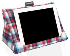 Tablet cushion red check. Ipad pillow - tablet support