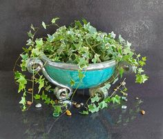 raku pottery large ceramic bowl, large planter, fine art ceramic, ceramic cauldron, large bowl, round planter, patio planter, succulent bowl, handmade planter. ideal for outdoor and indoor. His name is Neptune. shipping only via express courier. you can customized the bowl by