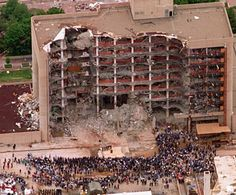 Terrorism on home ground- the Oklahoma City Bombing done by two Americans.---1995