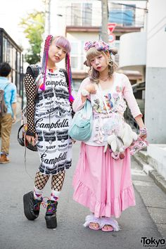 Harajuku Girls in Colorful Fashion.  Chun and Nana are two eyecatching girls we spotted on the street in Harajuku. We stopped them for some snaps #vanitytours