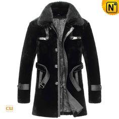 Measure to Made: Shearling Sheepskin Mens Winter Fur Black Coat CW851285 - www.cwmalls.com