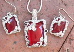 Illuminating Red Glass Set In Sterling Silver by SinginHoundBeadz, $52.00