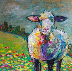 """""""Field of Sweet Dreams"""" paper and paint collage Paper Collage Art, Collage Art Mixed Media, Collage Artwork, Painting Collage, Sheep Paintings, Animal Paintings, Cow Paintings On Canvas, Sheep Art, Cow Art"""