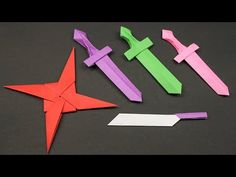 Knife - How to Make Ninja star.Knife Step by Step - Easy Origami Paper Ninja star.Knife – How to Make Ninja star.Knife Step by Step. Origami Sword, Instruções Origami, Dollar Origami, Paper Crafts Origami, Origami Bookmark, Origami Folding, Origami Knife, Origami Videos, Origami Ball